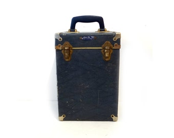 Vintage collectible mid century blue Globe-lite projector case, camera case, storage box