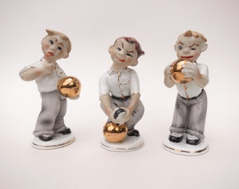 Lefton China Bowler Figurines 3 Vintage Hand Painted Bowling Figurines