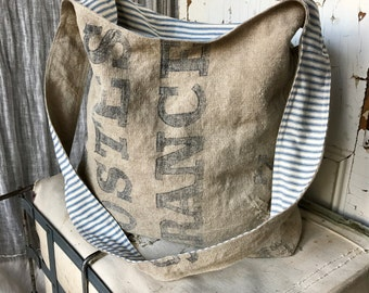 LA POSTES FRANCE - reconstructed french post mail sack sling bag