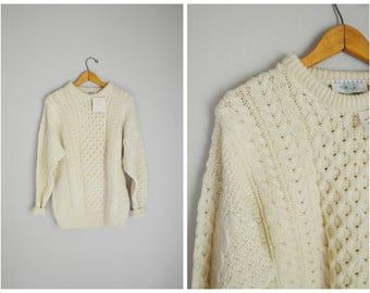 vintage 80s 90s ivory wool blarney fisherman knit pullover winter sweater -- unisex medium-- deadstock