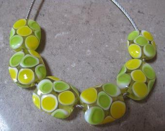 Lampwork Glass Beads. Yellow and Green Glass Mosaic Dots. Lemons and Limes. Handmade Glass Beads. Australian Artisan Beads. Kiln Fired Beads