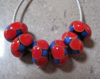 Lampwork Glass Beads. Red and Blue Glass Mosaic Dots. Handmade Glass Beads. Australian Artisan Glass Beads. Kiln Fired Glass Beads.
