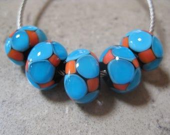 Lampwork Glass Beads. Turquoise Blue and Orange Mosaic Dots. Handmade Glass Beads. Australian Artisan Glass Beads. Kiln Fired Glass Beads.