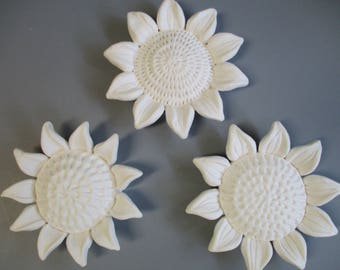 Three Sunflowers, ceramic wall hanging - floral wall art, soft white flowers, ceramic wall sculpture, ceramic sun flowers, ceramic flower
