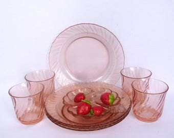 Vintage PINK GLASS Luncheon SET/ of 4