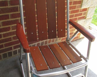 Vintage Redwood Rocking Chair - Foldable
