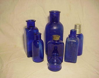 c1890 -1920s Group of 7 Cork top Cobalt Blue Glass Medicine, Ink, Perfume Bottles, Great Wedding Decor