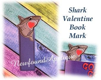 In The Hoop Shark Valentine Book Mark Embroidery Machine Design