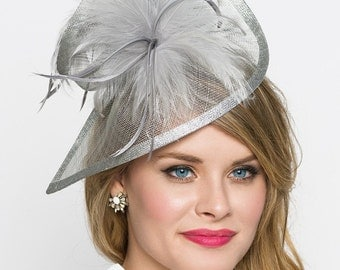 "Gray Fascinator - ""Victoria"" Gray Twist Mesh Fascinator Hat Headband with Gray Flighty Feathers"