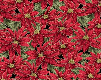 Christmas Traditions Poinsettias on Black with metallic gold outlines premium cotton quilting fabric from Maywood Studio BTY
