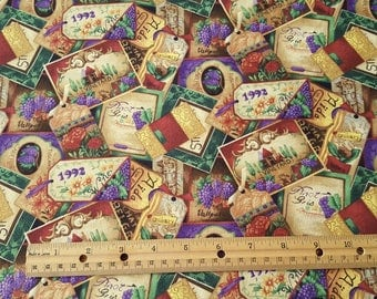 Wine Tags and Labels Collage cotton quilting fabric from Print Concepts Fabrics - 2.5 yard piece