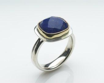 Square Faceted Lapis Lazuli ring - 18 ct gold on Sterling Silver ring - free shipping - non-traditional bridal jewellery - statement ring