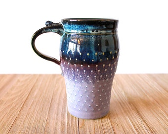 Travel Mug, Handmade Pottery, Ceramic, Stoneware, Wheel-Thrown, Lavender and Mocha OR Lavender and Black/Blue