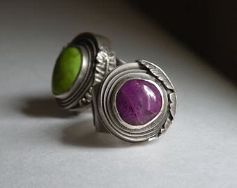 Sterling and Sugilite Ring - The Kindness Ripple