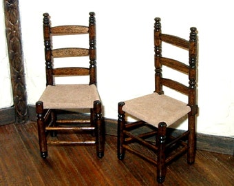 Slat Back Chairs with Leather Seats, Two (2) Chairs, Dollhouse Miniature 1/12 Scale, Hand Made