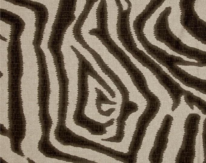 Designer Pillow Cover -  Lumbar, 16 x 16, 18 x 18, 20 x 20, 22 x 22. 24 x 24 - LCF Large Scale Zebra Ikat Brown and Flax