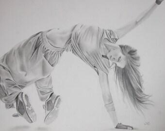 Large Original Pencil Drawing of a Dancer