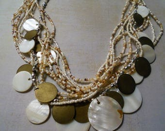Mother-of-Pearl and Bronze Discs Necklace with Ten Strands White Ivory Clear and Brown Seed Beads ~ Perfect for Wedding Bride
