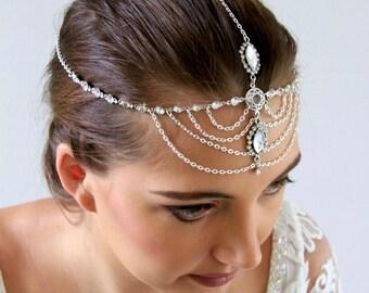 Bridal Headpiece Wedding Headpiece Head Chain Bridal Head Chain Head Jewelry Chain Headpieces Head Piece Chain Headpiece Boho Headpiece Skla