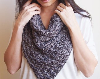 Crochet PATTERN women cowl bandana neckwarmer granny triangle infinity loop circle scarf, DIY photo tutorial, Instant download