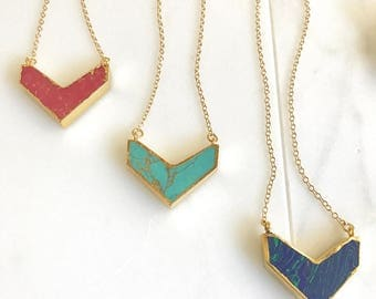 Colorful Chevron Layering Necklace in Gold. Turquoise Chevron Necklace.  Statement Necklace. Layering Necklace. Gift.