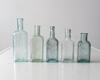 SALE antique apothecary bottle collection, blue glass bottles