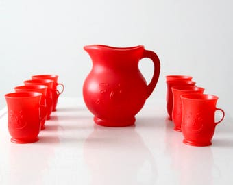 Kool-Aid set, vintage red plastic pitcher and drinking glass set
