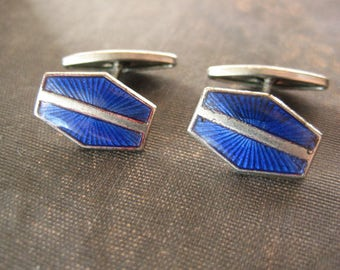 Antique Art Deco Cobalt Blue Guilloche Enamel Stylish Cufflinks