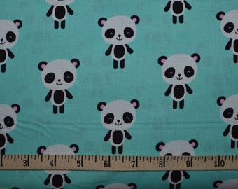 Robert Kaufman. Urban Zoologie. Pandas Aqua - By the yard - Cotton Fabric - Choose your cut