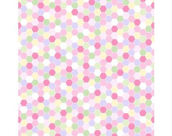 Clothworks.  Fidelia Hexagons Pink - Cotton fabric BTY - Choose Your Cut
