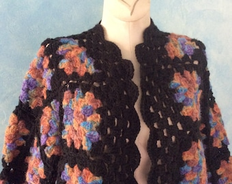 Granny Square Sweater - Crocheted Sweater - Hand knit Sweater