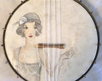 Flapper Girl Painted On A vintage BANJO UKULELE banjolele Uke Regal pre war pearls Louise Brooks