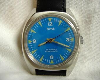 Vintage 1970s Mens HMT 17-Jewel Manual Wind Watch