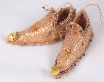 Copper Gold Christmas Ornament Fairy Shoes forest  Maple leaf faerie elf shoe tree decoration holiday decor fairy tree