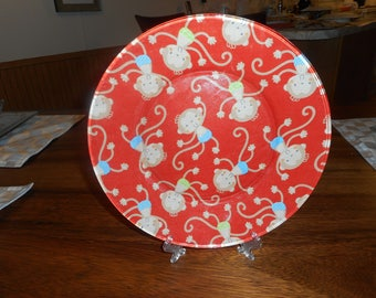 fabric backed monkey plate. fabric backed plate, monkey plate, red, monkeys, display plate, collector