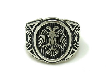 Sterling silver  solid 925 two head eagle ring pendant