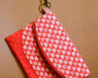 Foldover Wristlet with 2 zippered pockets