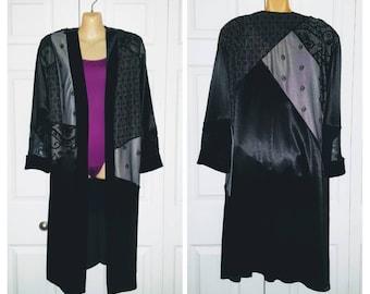 Nevermore .. vintage 80s 90s duster / black crushed velvet / mesh cut out burnout / long maxi coat jacket cardigan L XL 1X plus