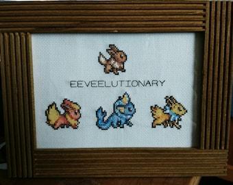 Pokemon 'Eeveelutionary' cross stitch
