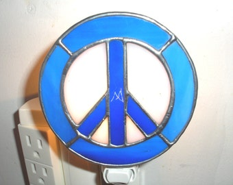 LT Stained glass, blue, Peace sign, night light, lamp, Woodstock, dark blue, my hand made in the USA, 1960's, accent lamp, indoor lighting,
