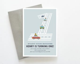 Transportation Birthday Invitation, Boy First Birthday, 1st Birthday Invitation, 1st Birthday Boy, Cars Birthday Invitation, Transportation