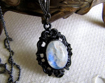 Rainbow Moonstone Necklace Gemstone Necklace Gothic Jewelry Gothic Necklace Wiccan Jewelry Victorian Jewelry Valentine's Day Mother's Day