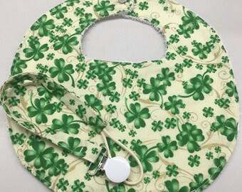 St Patrick's Day Newborn Baby Bib/Pacifier Holder Set_Green Shamrocks on Ivory