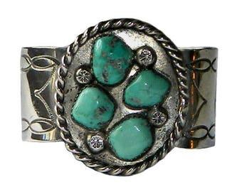 Vintage Sterling Silver Turquoise Cuff Bracelet Navajo