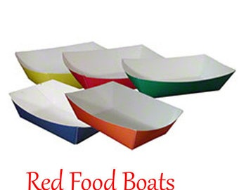 50 Large Red  Food Boats-Paper-Birthday Parties, BBQ, 50ct