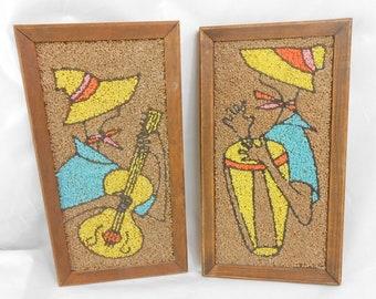 Vintage pebble art Latin musicians pebble rock Latin bongo drum pebble picture Latin guitar player rock art pebble art 1960 kit art island