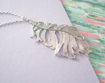 Feather Necklace, Large Feather Pendant, Long Feather Necklace, Silver Feather Jewellery, Teenager Gift