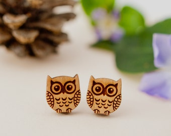 Owl Earrings, Owl Studs, Wooden Owl Earrings, Owl Jewellery, Owl Gift, Teacher Gift, Owl Lover, Sterling Silver Earrings, Cute Earrings