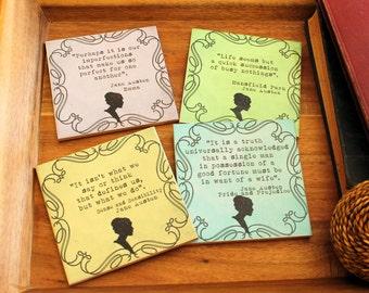 Jane Austen Coasters_Pride & Predjudice_Sense and Sensibility_Mansfield Park_Emma_Literature Quotes_Librarian_Bookworm gift_literary gift