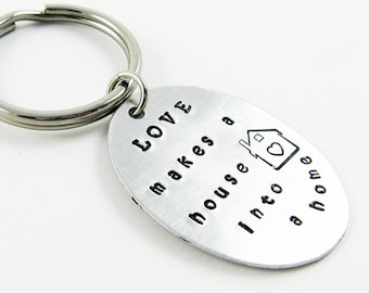 Housewarming Keychain - Quotation Key Ring for New Homeowner, New Home Gift with Love and House with Heart